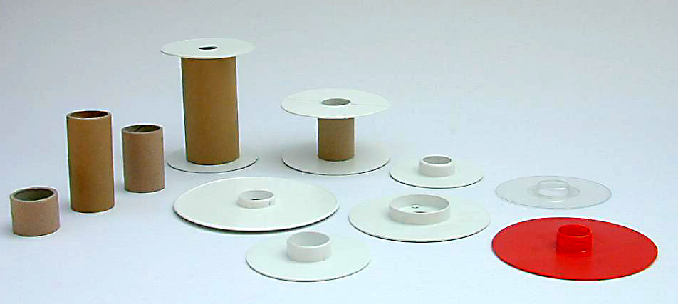 Flange made of shock absorbent polystyrene and tube made of cardboard. Flange dim. max 148 mm.