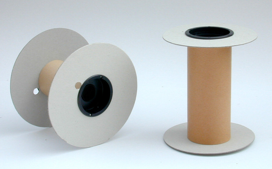 FFlange and tube made of cardboard, caps made of shock absorbent polystyrene, for material that requires (zig zag) winding.